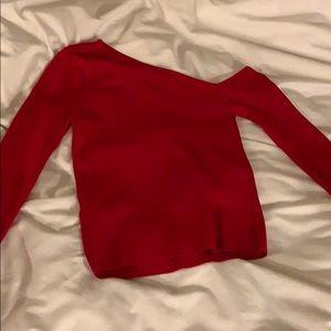 Zara red one shoulder long sleeve
